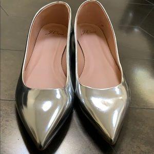 Jcrew silver leather flats